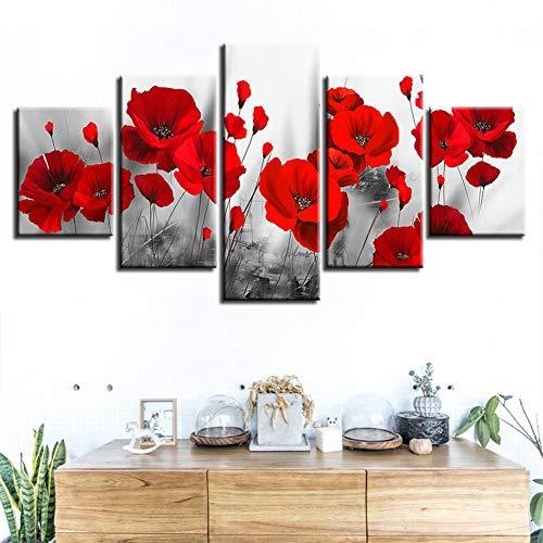 5 stuk Canvas Rose Print muur schilderij, 5 deel panelen bloeiende rode Rose Bush Art Print beelden, Home woonkamer Office moderne decoratie Gift,Without frame,30x40/60/80cm