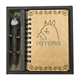Guritta My Neighbor Totoro Vintage Wooden Cover Notebook Journals Diary Sketchbook Study Spiral Writing Notebook Wonderful Creative Christmas Kids Gift with Cute Anime Pen Set Light Wood Hardcover