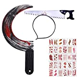 Holding a bloody sickle, wearing a saw headband, and sticking a bloody tattoo on various parts of the body, pretending to be a murderous psychopath, can be used for Halloween parties or entertainment to create a thriller effect A weapon, a spooky hea...