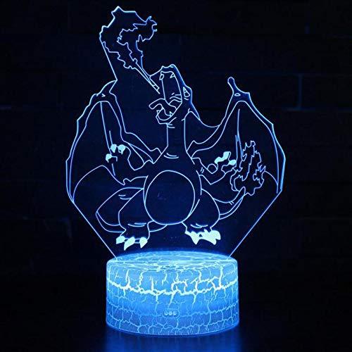 3D USB Schreibtisch Tischstempel Neues Cartoon-Spiel Film Nettes Tier Kleines Monster Pokemom Pikachu Austauschbare Stimmung Nachtlicht Weihnachtskinder Geschenk Nachtdekoration am Bett