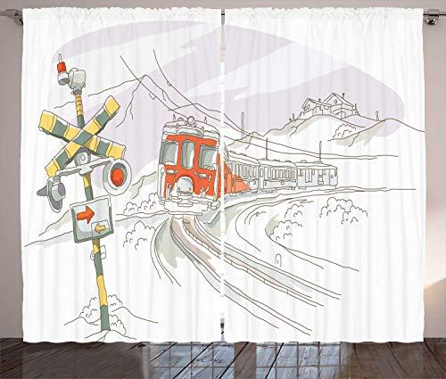 ABAKUHAUS Spoorweg Gordijnen, Trein op de rails Rural, Woonkamer Slaapkamer Raamgordijnen 2-delige set, 280 x 225 cm, Vermilion Geel