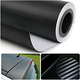 DIYAH 3D Black Carbon Fiber Film Twill Weave Vinyl Sheet Roll Wrap DIY Decals (12