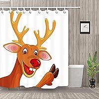 AFDSJJDK カーテン 漫画のクリスマストナカイカーテンシャワーバスルーム防水生地12フック新しい