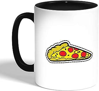Decalac Printed Coffee Mug, Black, Pizza piece, Ceramic