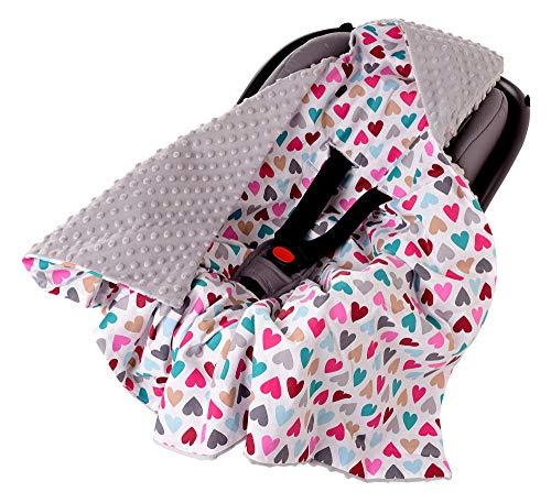 Einschlagdecke 100% Baumwolle 85x85cm doppelseitig multifunktional Minky Kuscheldecke für Kinderwagen weich flauschig (bunte Herzen mit grauem Minky)