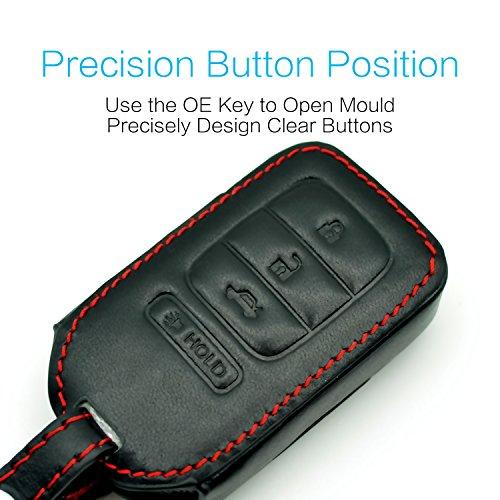 MECHCOS Compatible with fit for M3N-40821302Chrysler Dodge Jeep 5 Button Leather Keyless Entry Remote Control 5 Buttons Smart Key Fob Cover Pouch Bag Jacket Case Protector Shell