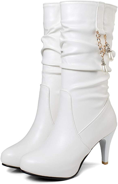 Hoxekle Fashion White Elegant Women Pleated Thin High Heel Mid Calf Snow Boots Women Slip On Motorcycle Boots