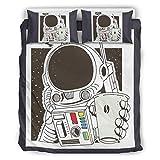 O5KFD&8 Juego de ropa de cama NASA Prost Hotel Luxury de 3 piezas de funda de almohada y fundas de almohada – Space Drink suave y cómodo juego de ropa de cama bohemia blanco 168 x 229 cm