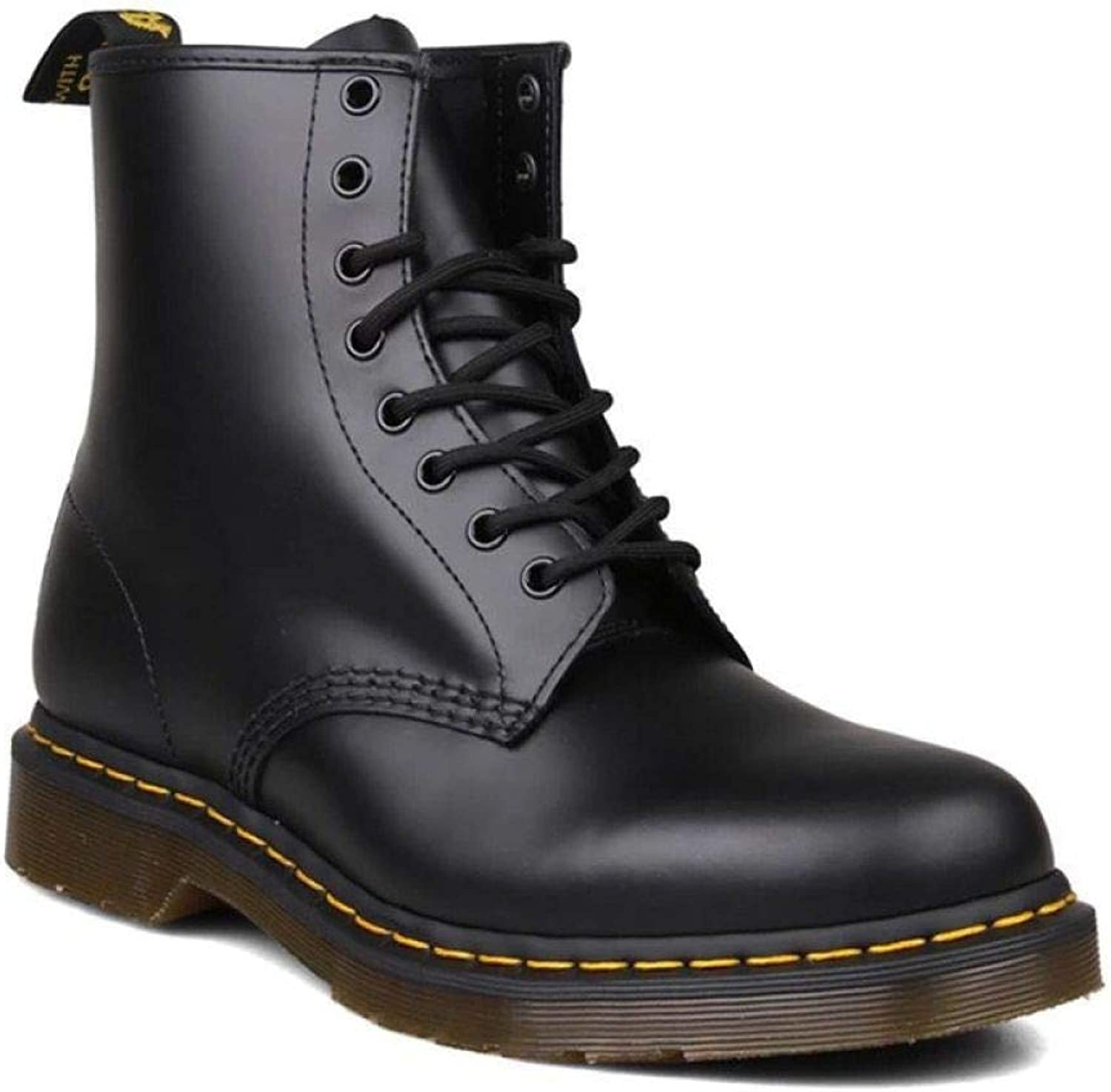 QIKAI Military Boots for Men 8-Hole Martin Boots Men's Leather Tooling shoes Men's High Help Plus Cashmere Boots