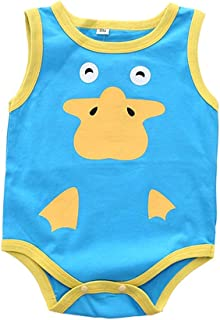 Mornyray Unisex Toddlers Animal Style Design Cotton Romper Kids Casual Playwear Sleeveless One-Piece Bodysuit For Babygirl Babyboy Fashion Solid Color Romper For Babys (0-24M)