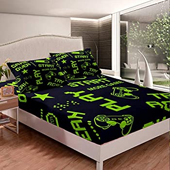 Erosebridal Games Fitted Sheet Twin Size Kids Boys Gamepad Gamer Bedding Set Video Games Sheet Set Novelty Action Buttons Bed Cover Gaming Room Decor with 1 Pillow Case Green Black No Flat Top Sheet