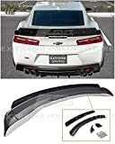 Replacement for 2016-Present Chevrolet Camaro All Models | EOS 1LE Extended Style ABS Plastic Primer Black Add On Rear Trunk Lid Wing with Aluminum Painted Glossy Black WickerBill Spoiler