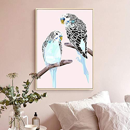 QianLei golfstokjes op tak kunstdruk vogel poster canvas schilderij wandschilderij drukgalerij voor woonkamer 40x60cm geen lijst