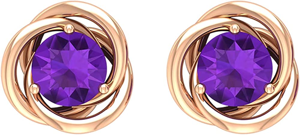 3 4 CT Amethyst unisex Challenge the lowest price Solitaire Swirl Quality Stud AAA Earrings 14K