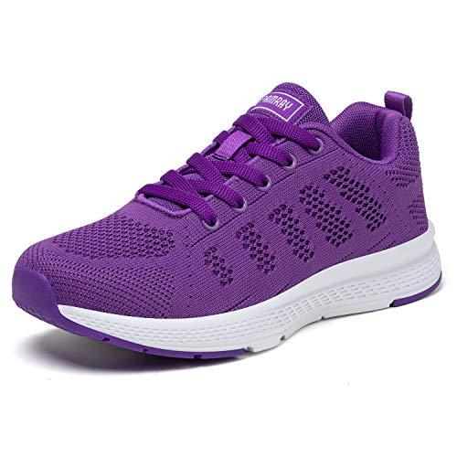 PAMRAY Damen Fitness Laufschuhe Sportschuhe Schnüren Running Sneaker Netz Gym Schuhe Alles Violet 40