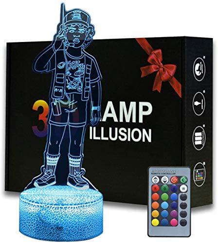 Luz nocturna 3D, ilusión óptica, luz nocturna de 16 colores, luz nocturna remota USB, decoración de escritorio, dormitorio, juguetes para niños