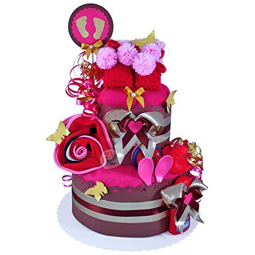 MomsStory - Windeltorte Mädchen | Baby-Geschenk zur Geburt Taufe Babyshower | 2 Stöckig (Braun-Pink) mit Baby-Schuhchen Lätzchen & mehr