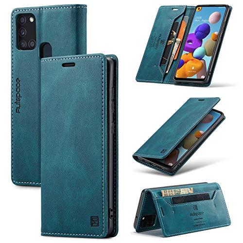 Cáscara del teléfono Caja de cuero suave de cuero suave mate multifunción para Samsung Galaxy A21S, 2 en 1 Funda de cubierta de billetera magnética de 2 en 1, caja de cubierta de fondo TPU con ranura