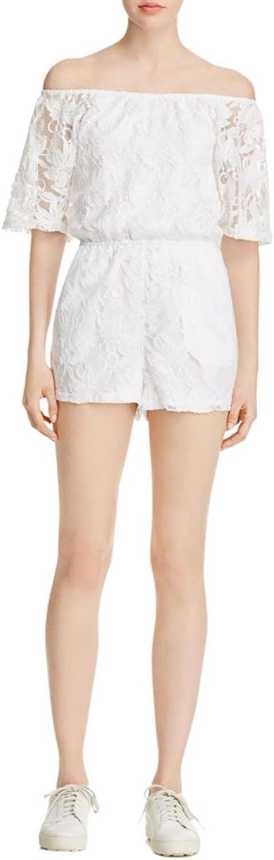 BB Dakota Women's OffTheShoulder Lace Romper in White