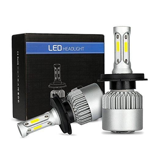 MiCarBa Phares LED H4 Ampoule 72W 8000LM Super lumineux ampoules de phares de voiture étanche Cool Blanc 6500K COB LED Phare Kit de conversion remplacer pour ampoules halogène HID (H4/HB2/9003)