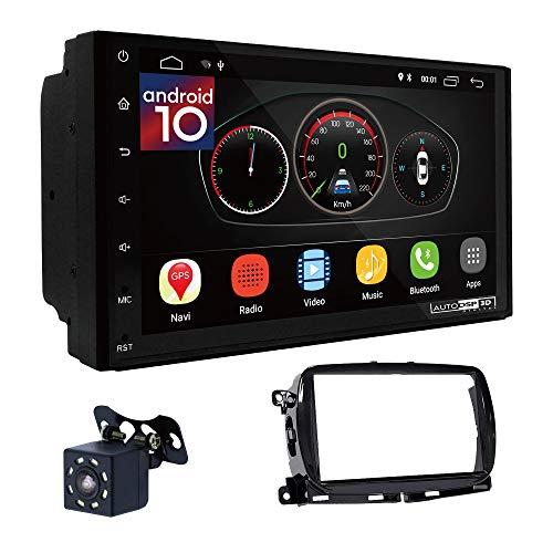 UGAR EX10 7 pollici Android 10.0 DSP Navigazione GPS per Autoradio + 11-804 Kit di Montaggio compatibile per Fiat 500 (312) 2015+