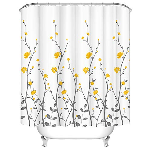 Yellow Flowers Bathroom Shower Curtain Set Hooks Included Waterproof Durable Polyester Fabric Yellow and Gray White Shower Curtains Bathroom Accessories 72x72 Inches