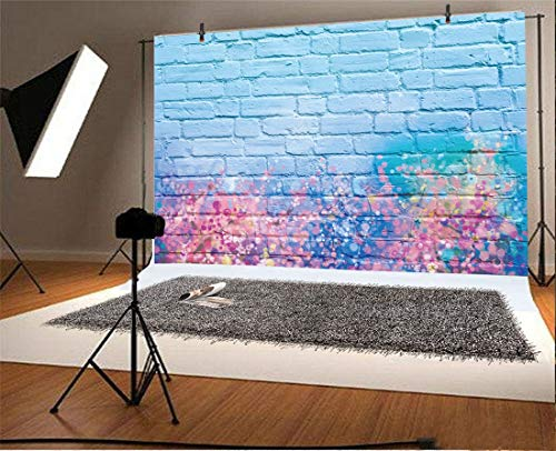 YEELE 7x5ft Graffiti Photography Backdrop Colorful Watercolor Painting Brick Wall Background Wedding Birthday Decoration Kids Adult Artistic Portrait Photoshoot Props Girl Room Digital Wallpaper