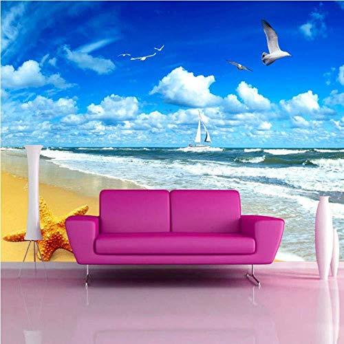 Benutzerdefinierte Strandlandschaft Seestern Blauer Himmel 3D Fotohintergrund Computer gedruckt Wohnzimmer TV Fotografie Hintergrundbild Tapete(W)450cmx(H)300cm