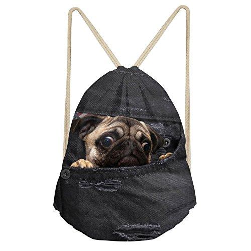 Dzulife Cute Pug Dog Swim Gym Sports Dance Bag Drawstring Backpack Cinch Sack Sackpack for Kids Girls Teens Women Black