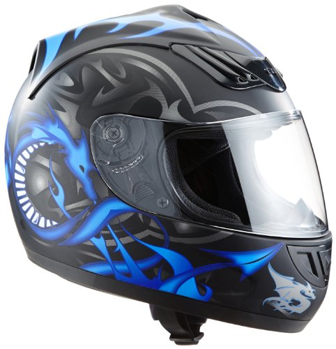 Protectwear H510-11BL-S Motorradhelm, Integralhelm mit Drachendesign, Größe S, Schwarz/Silber/Blau