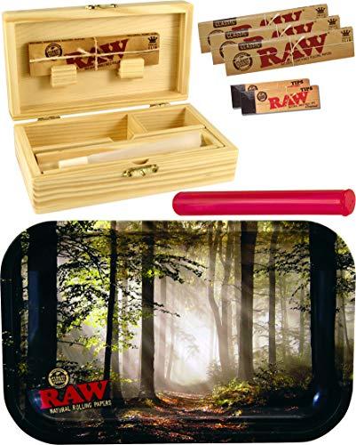 yaoviz Set RAW Rolling Tray Forest Small Metall - Box Medium Holz 155 x 85 x 48mm + 3X 32er RAW KS Slim Papers + 2X 50er RAW Filtertips + Buddies Tube Transporthülle 120mm bunt