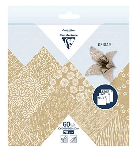 Clairefontaine 95355C – 1 funda origami 60 hojas 70 g (3 formatos de papel: 10 x 10 cm, 15 x 15 cm, 20 x 20 cm, motivos surtidos (10 diseños x 2 hojas por formato), Kraft floral