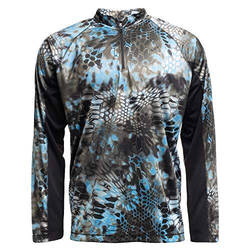 Kryptek Zephyr Long Sleeve 1/2 Zip Camo Swimming & Fishing Shirt (K-Ore Collection), Typhon/Black, L