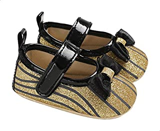 Mix & Max Striped Front Bow Velcro Strap Shoes for Girls