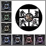 Hockey Mann Höhle Vinyl Rekord Wanduhr Hockey Club Team Logo Vintage Wanduhr Hockey Sticks und Puck Dekor Hockey Liebhaber Geschenk-rot_Keine