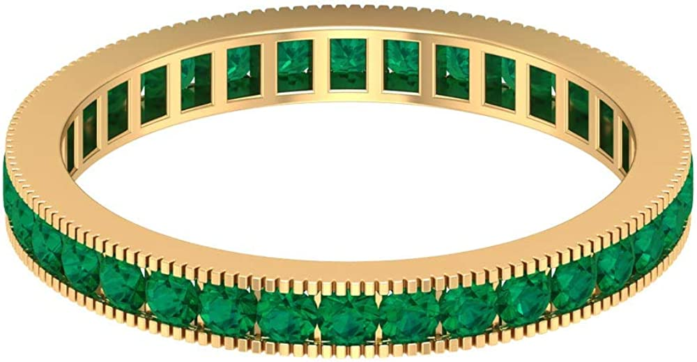 October Birthstone - 1.80 MM Round Cut Green Tourmaline Wedding Band, Full Eternity Band Ring, Gold Milgrain Band (AAA Quality), 14K Gold