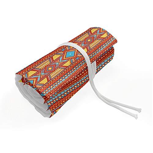 ABAKUHAUS Tribal Trousse à Crayon Enroulable, Ethnic ornamentale Rombi, Organisateur de Crayon Durable & Portatif, 48 Trous, Multicolore
