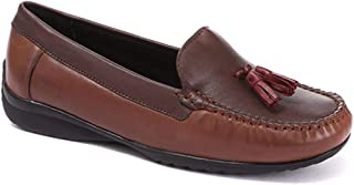 Pavers Womens Leather Moccasin Loafer Shoes Cushioned Insole Smart Casual