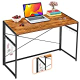 "Mr IRONSTONE 39.4"" Folding Computer Desk, Writing Desk Easy Assembly with 10 Hooks, Foldable Metal Frame, Writing Workstation Laptop Table for Home Office (Vintage)"