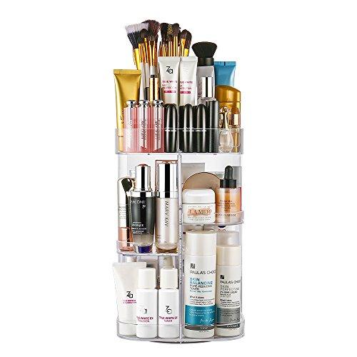 Porta cosmetici Jerrybox rotante di 360 gradi, scatola organizza cosmetici regolabile multi funzione, ideale per riporre il tonico, le creme, i pennelli, i rossetti (Square with Tray Transparent)