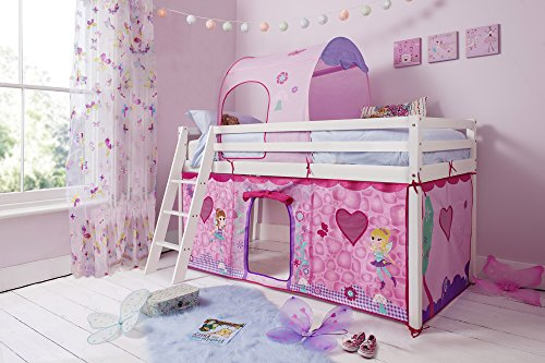 Noa and Nani - Midsleeper Cabin Bed with Fairies Tent and Tunnel - (Solid White)