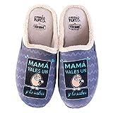 Zapatillas casa, comodas, con Pelo y Originales Familiar a Madres. Mama vales un Huevo. Zapatillas de casa Españolas, Materiales Primera Calidad.