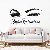 BailongXiao Extensión de pestañas Logo Etiqueta de la Pared Ojos parpadeantes Vinilo Ventana Cartel salón de Belleza Ornamento pestañas Cejas Maquillaje Etiqueta de la Pared 102x48cm