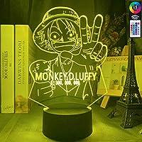 3DイリュージョンランプLEDナイトライトアニメワンピースモンキー・D・ルフィフィギュア子供用色が変わる雰囲気キッズルームベッドサイドテーブルの装飾デスクランプ