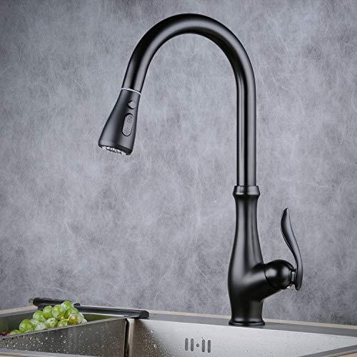 Grifos para fregadero de cocina con boquilla giratoria extraíble de rotación de 360 °, grifo monomando monobloque de una sola manija, rociador de 3 funciones, color negro