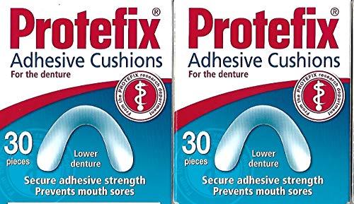 PROTEFIX Cojines adhesivos para la dentadura inferior – 2 x 30 piezas – Cojines de caja dañados 100% ok.