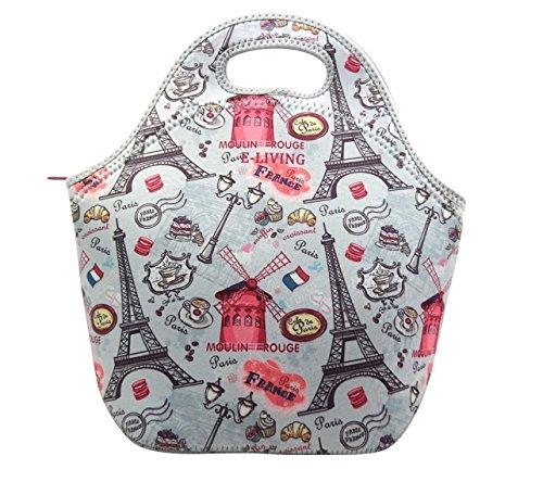 Neoprene Lunch Tote Bag - Paris design