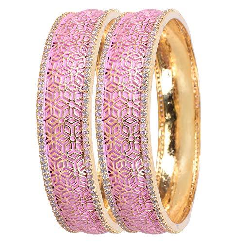 Ratnavali Jewels CZ Zirkonia Gold Tone Fettes Rosa Emaille Indische Armreifen Bollywood Schmuck Frauen