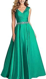 DDBridal Women's V-Neck Satin Beading Bridesmaid Dresses Long A-Line Prom Dresses