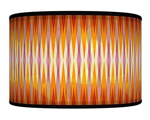 40cm (40,6cm) Spikes Orange Grey retro Geometric Handmade Giclee Style stampato tessuto paralume per lampada da terra o da soffitto paralume 358